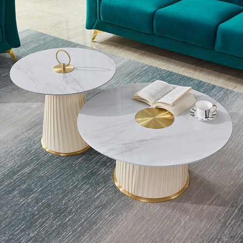 Round tea table small family living room designer creative high and low tea table combination light luxury modern rock plate tea table