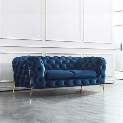 Nordic light luxury sofa combination postmodern pull-button velvet web celebrity sofa size family living room metal furniture