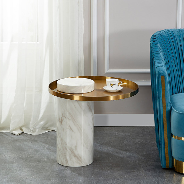 Round postmodern simple edge a few light luxury marble living room sofa side table designer model room golden corner a few