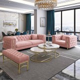 American light luxury sofa combination Hong Kong style Scandinavia pull buckle leather living room villa model room complete small family customization