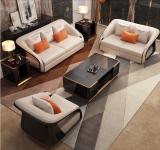Microfiber leather Light luxury Italian-style 123 sofa, large living room in postmodern villa