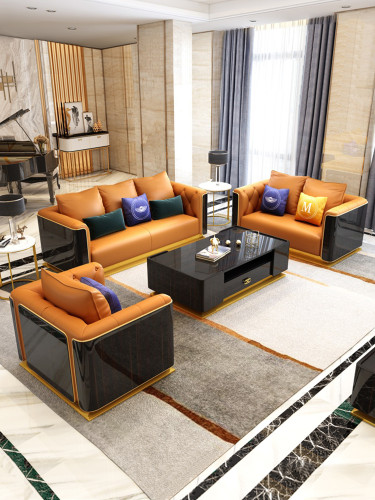 Microfiber leather Hermes Orange Sofa Light Luxury Modern Villa Creative Living Room Model Room Furniture Combination