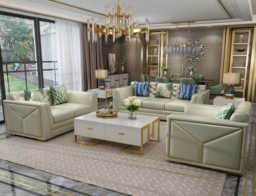 Large house light luxury leather sofa postmodern simple luxury living room single double three high-end villa leather sofa
