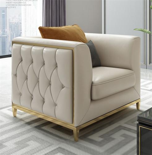 Microfiber leather sofa light luxury wind Italian modern stainless steel pull buckle designer sofa combination