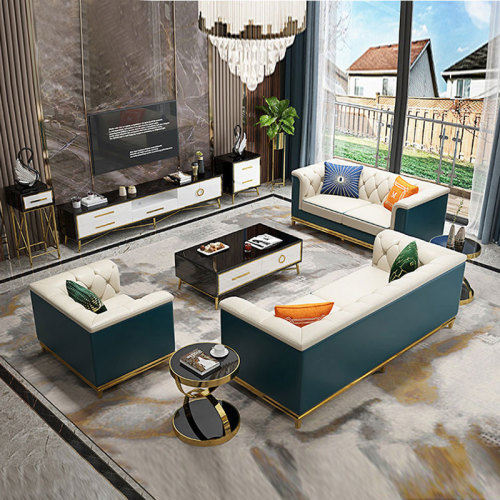 Microfiber leather sofa modern light luxury simple sofa combination of Hong Kong model room European villa sofa