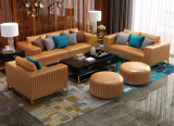 Postmodern simple Microfiber leather sofa combination living room Hong Kong-style light luxury small house combination