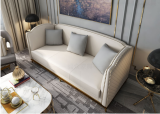 American Sofa Hong Kong style light luxury postmodern simple leather art sofa small family living room equipped with web celebrity three people