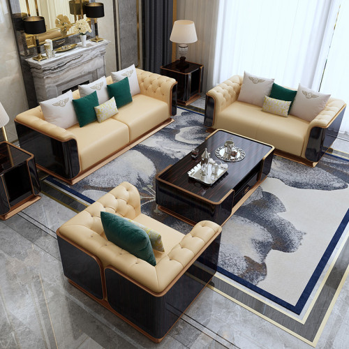 Microfiber leather Customized light luxury sofa combined with simple and complete luxury villa high-end furniture Italian postmodern leather sofa