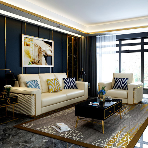 Postmodern single double three people Microfiber leather sofa contracted neoclassical model room Hong Kong style light luxury gilded living room furniture