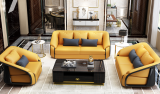 Microfiber leather Light luxury Italian-style 123 sofa, large living room in postmodern villa