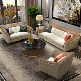 Microfiber leather light luxury sofa, modern living room, INS style, small family, simple model room, three people fully equipped