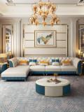 Superfine fiber leather postmodern light luxury sofa combination Nordic suit American living room small house simple