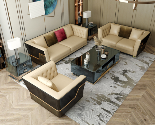 Italian light luxury leather sofa 123 combination of postmodern villa living room high-end INS web celebrity Hong Kong family furniture