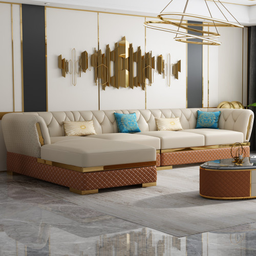Microfiber leather Post-modern light luxury sofa combination living room small size Italian minimalist furniture