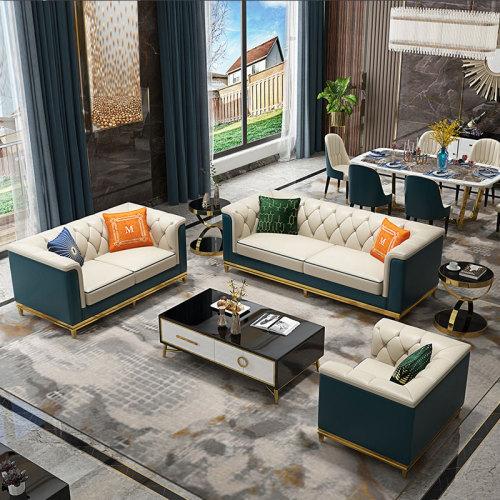Microfiber leather sofa modern light luxury simple sofa combination of Hong Kong model room European villa sofa