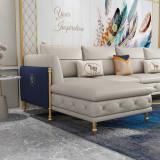 Microfiber leather light luxury sofa Modern Italian leather sofa Combination simple living room corner leather sofa