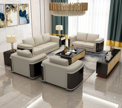 Customized postmodern light luxury sofa combination size simple living room Evergrande model room Hong Kong leather Italian sofa
