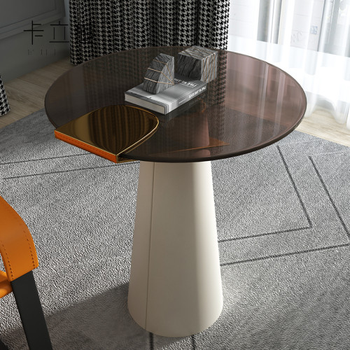 Italian minimalist light luxury corner a few imitation leather small round a few modern contracted glass balcony small tea table sofa side cabinet