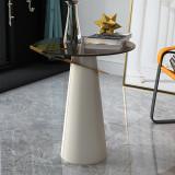 Italian minimalist light luxury corner a few imitation leather small round a few modern contracted glass balcony small tea table sofa side cabinet
