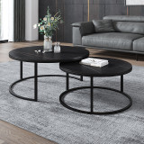 Italian minimalist stone plate tea table combination small family light luxury creative tea table Scandinavian household high and low small edge
