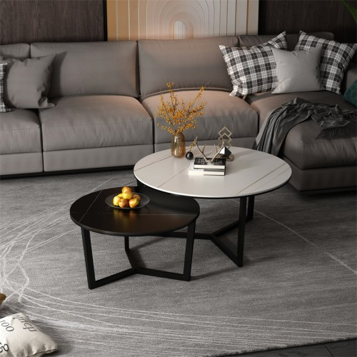 New rock plate tea table living room office simple modern light luxury small family Northern Europe round edge a few flowers