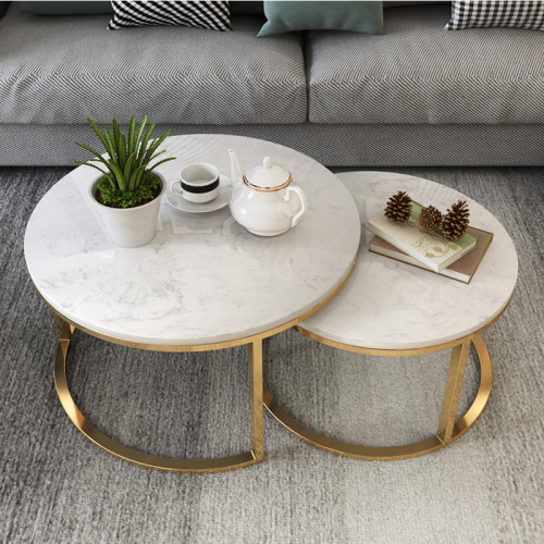 Marble table round stainless steel coffee table Nordic American light luxury modern simple style living room size family