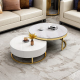 Post-modern marble stainless steel tea table light luxury simple living room small family toughened glass telescopic round tea table