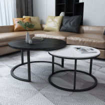 Italian minimalist stone plate tea table combination small family light luxury creative tea table Scandinavian household high and low small edge