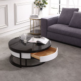 Postmodern simple tea table TV cabinet combination of size and size of the Nordic mini creative round iron art living room table furniture