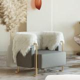 Light luxury single sofa chair simple modern cashmere leisure chair Italian designer creative stainless steel furniture