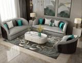 Postmodern light luxury Hong Kong-style deerskin velvet sofa curved small family leather custom frosted flannelette art sofa combination