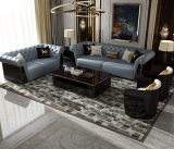 Italian pull button high-end villa Versace living room luxurious combination of simple postmodern American light luxury leather sofa