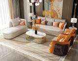 Italian light luxury Bentley sofa combination villa arc leather high-end leather art sofa furniture customization