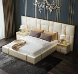 modern luxury bedroom furniture upholstered real leather italian bed with extended headboard king size white leather bed