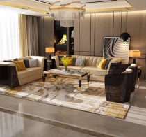 Light luxury sofa, postmodern simple villa model room, Hong Kong-style Italian large family, Versace customized microfiber leather