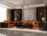 Italian light luxury American leather sofa combination of high-end postmodern living room ebony solid orange button light