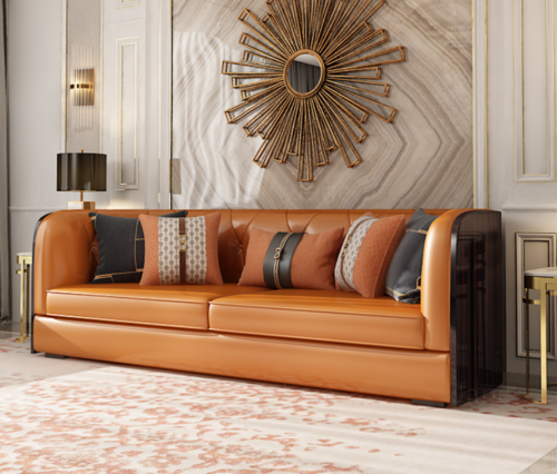 Italian light luxury sofa combination living room American upscale villa pull buckle Hermes orange postmodern microfiber leather