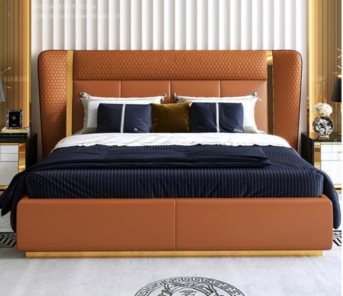 Hong Kong-style light luxury post-modern simple ultrafine fiber leather bed