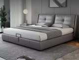 Nordic Light luxury leather bed post modern simple soft bag bed