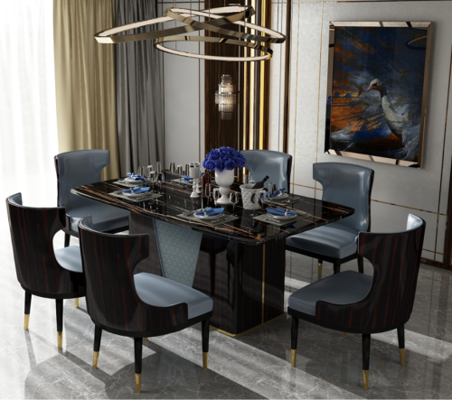 Light luxury Italian curved plate dining table