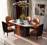Light luxury Italian curved plate dining table