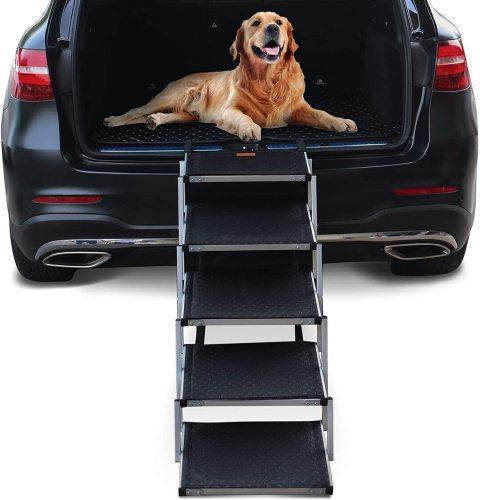 Dog Steps for Large Dog | Lightweight Aluminum Foldable Pet Ramp (Outdoor)