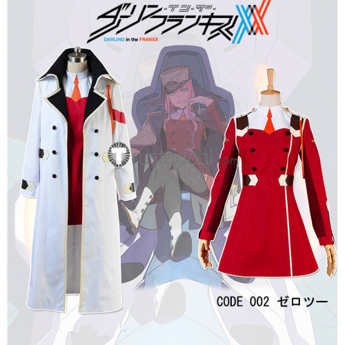 Darling in the Franxx Zero Two Code 002 Pilots White Overcoat Red Uniform Cosplay Costume2