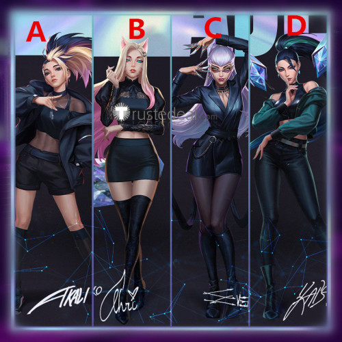 League of Legends KDA New Skins The Baddest Akali KaiSa Ahri Evelynn Cosplay Costumes Shoes Wigs