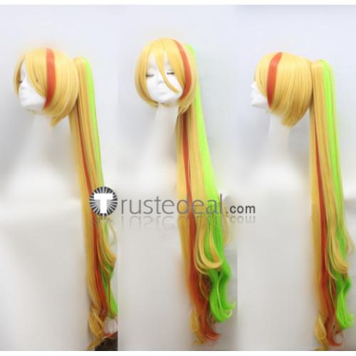 Zombie Land Saga Zonbi Rando Saga Saki Nikaido Blonde Green Ponytail Cosplay Wig