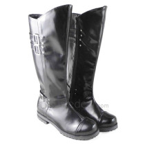 Black Cosplay Boots with Zipper