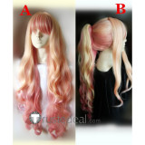 Macross Frontier Sheryl Nome Long Blonde Pink Curl Ponytail Cosplay Wigs