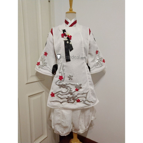 Final Fantasy XIV Little Ladies Day Male Miqo'te White Cosplay Costume