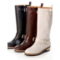 Top quality PU flat heel with double strps boots(D1051)