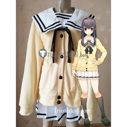 Kimi to Kanojo to Kanojo no Koi Mukou Aoi Miyuki Sone White Black School Uniform Yellow Cardigan Cosplay Costume